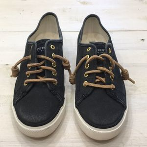 Sperry canvas slip ons with leather laces sz 7
